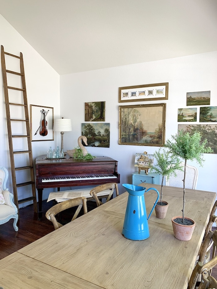 music room at the French style home tour