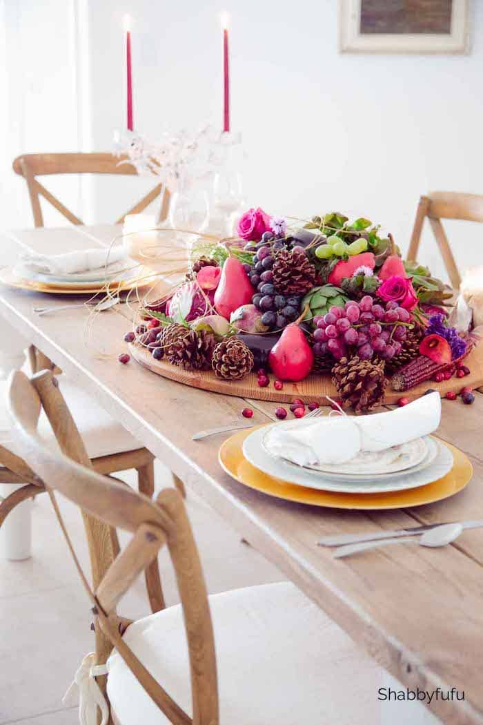 Table centerpiece with fresh fruit