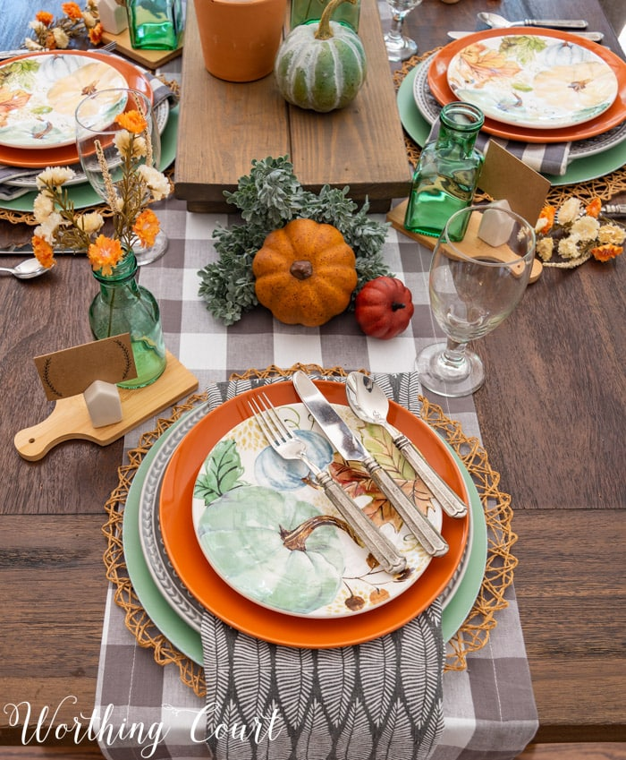 Thanksgiving table setting with traditional fall colors
