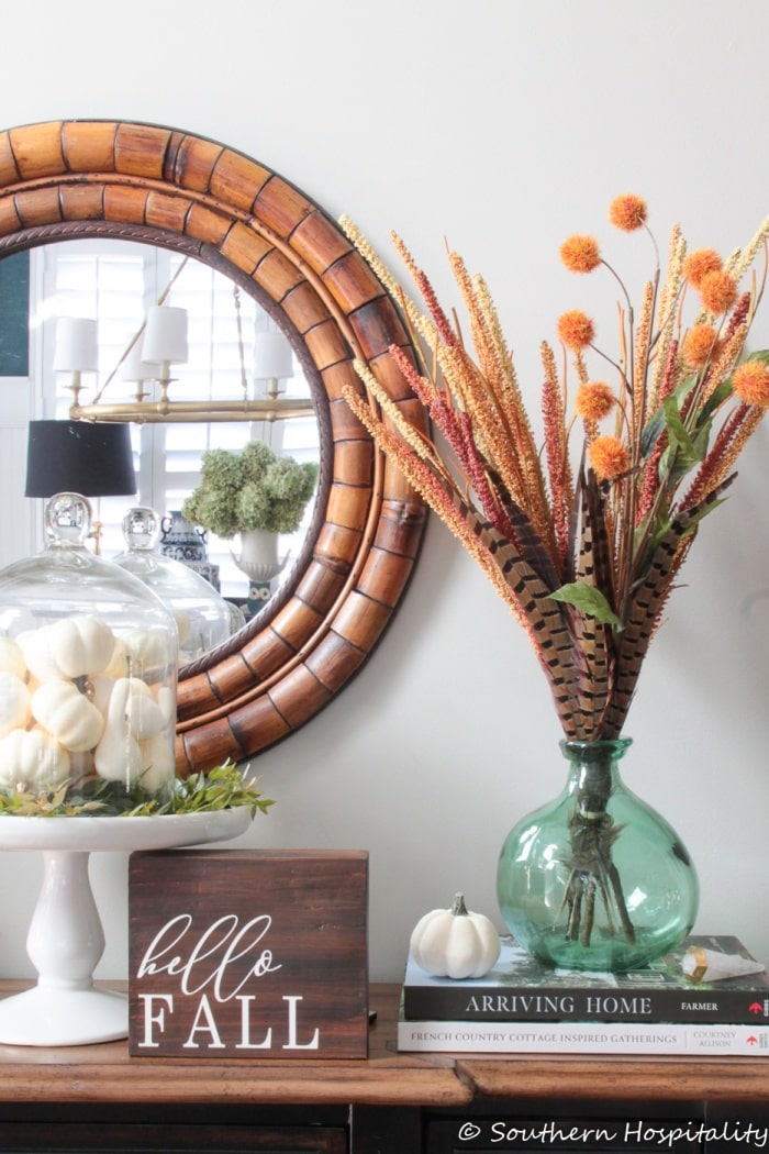 fall vignette with assorted fall decor