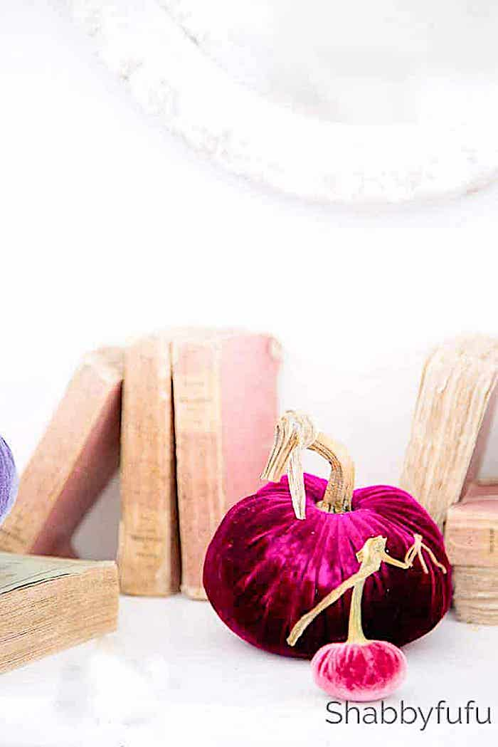 books stacked with magenta colored velvet pumpkins