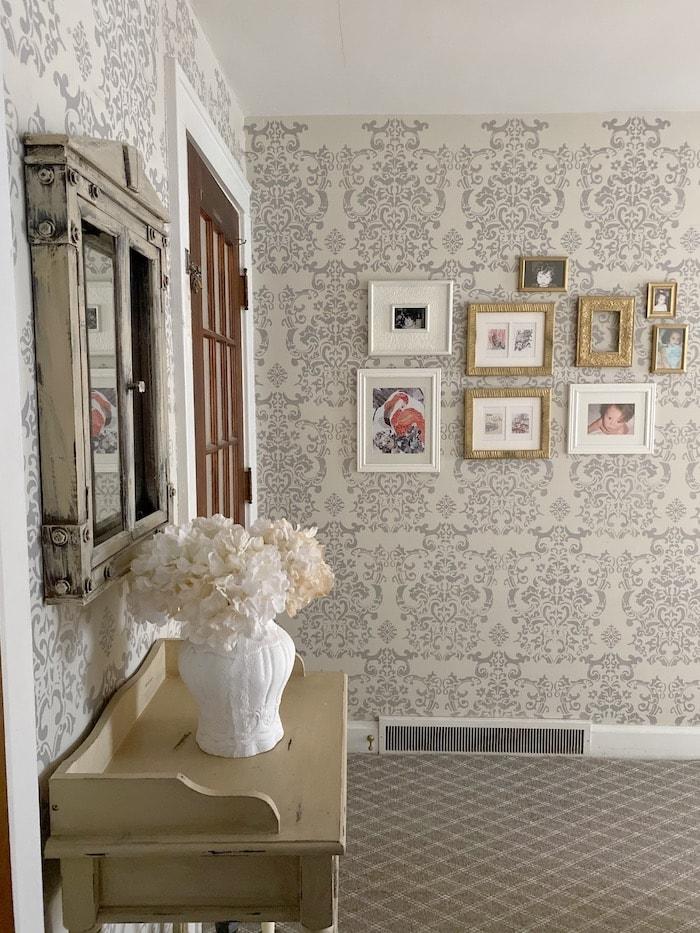 casual elegance stenciled hallway