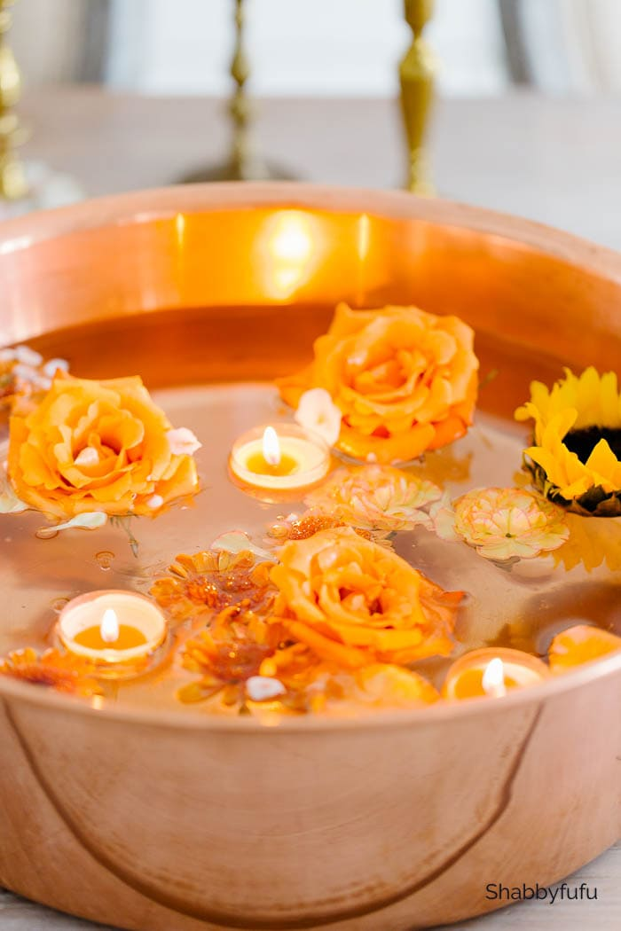 floating garden centerpiece with candles