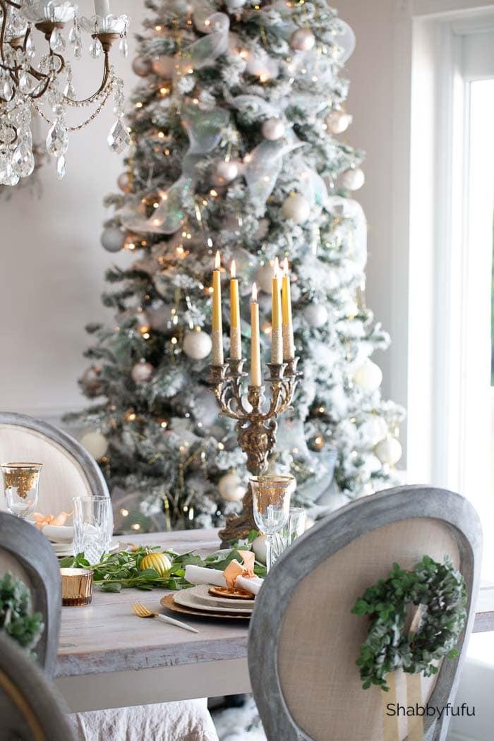 gold Christmas decor dining room shabbyfufu