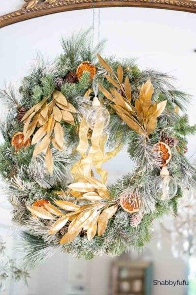 gilded gold Christmas tree wreath Shabbyfufu