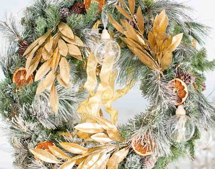 gilded gold Christmas tree wreath Shabbyfufu