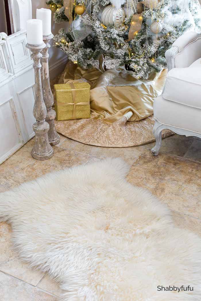 gold metallic Christmas tree skirt