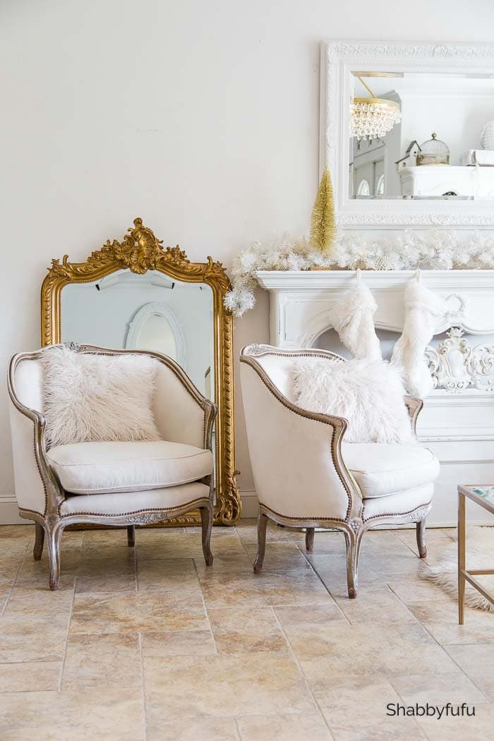 French chairs and antique gilded French mirror shabbyfufu