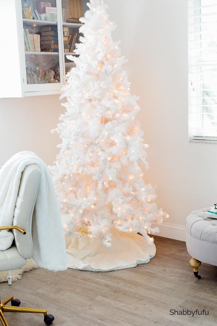 white Christmas tree in French style home office