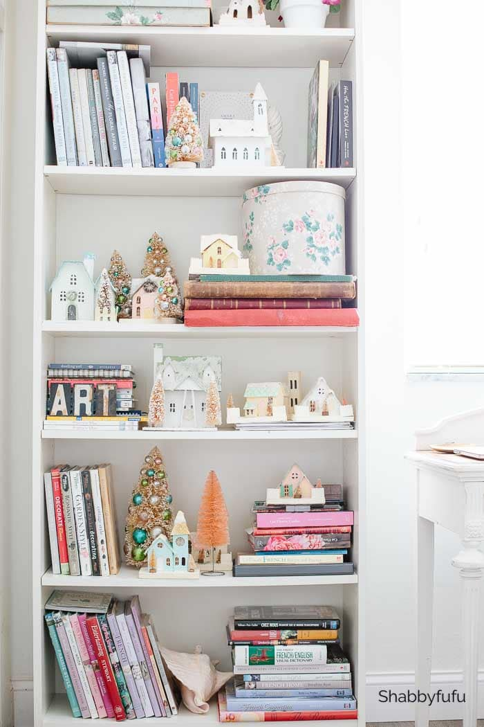 French style home office bookshelves