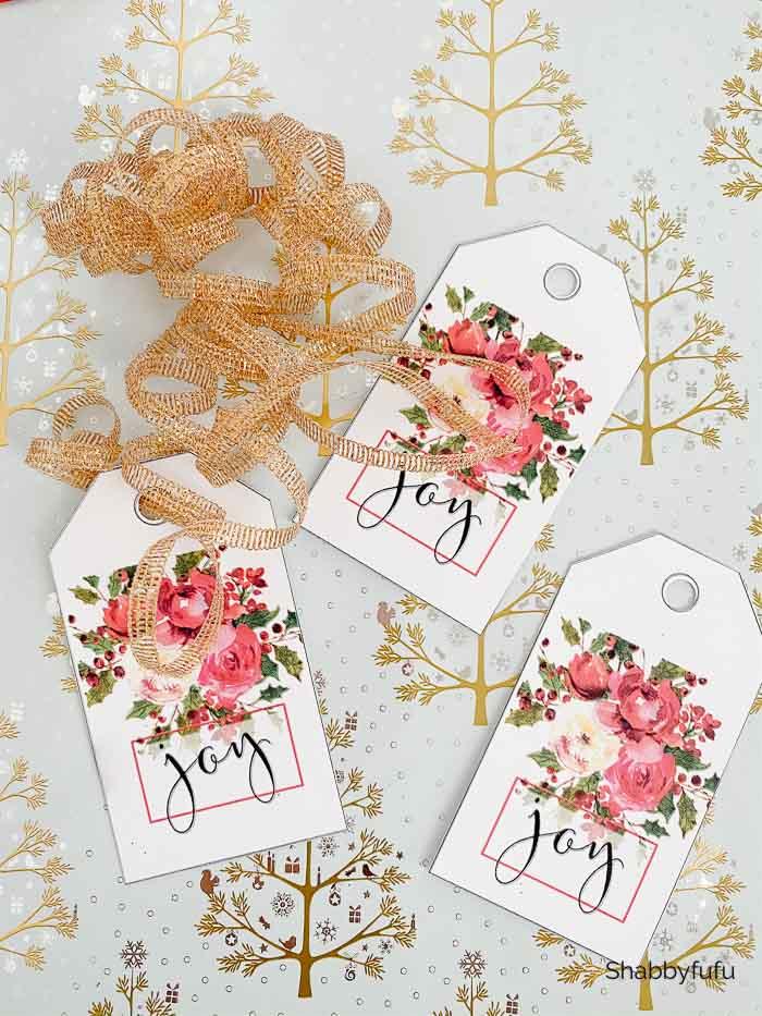 free Christmas peonies gift tags