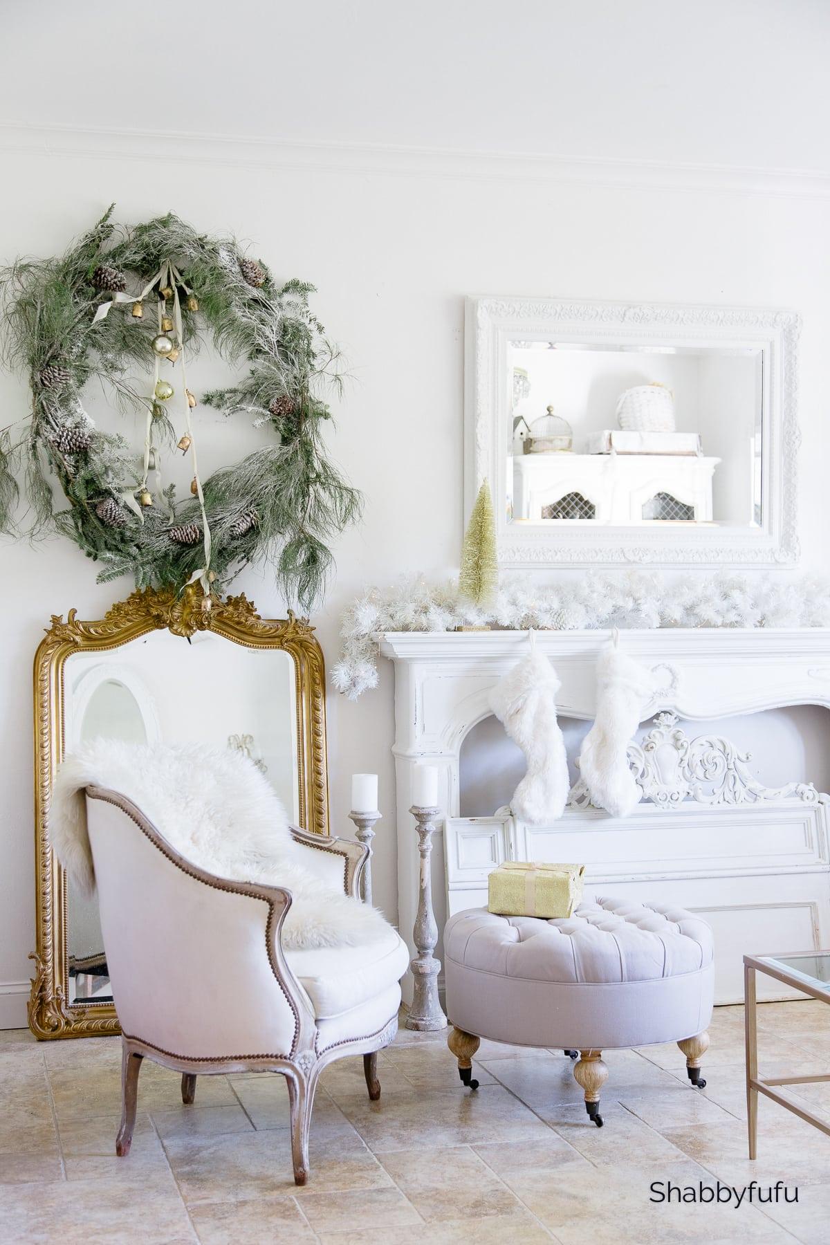 large flocked Christmas wreath