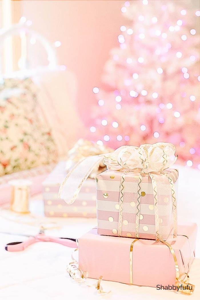 pink ribbon on Christmas presents