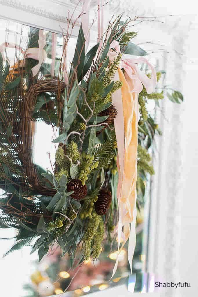 pink silk ribbon on a Christmas wreath