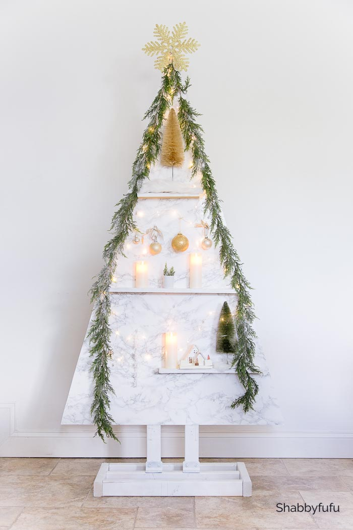 DIY Scandinavian style Christmas tree built with wood painted white