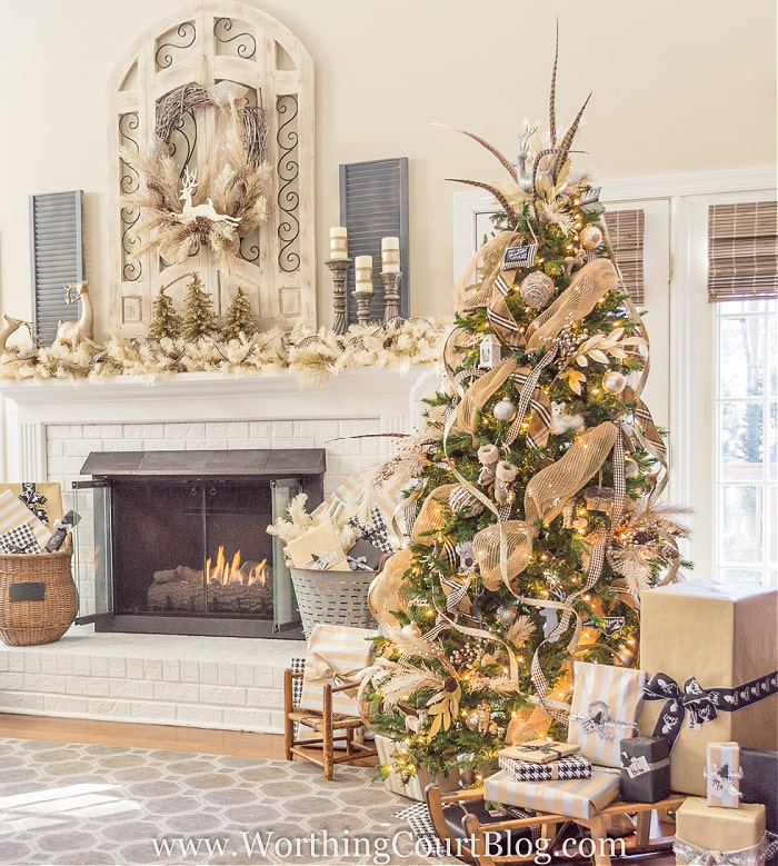Tree and mantel decorated for Christmas with rustic glam neutral decorations