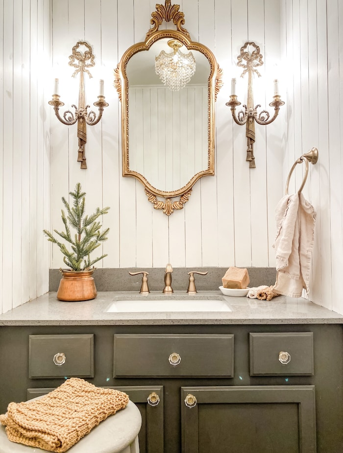 half bath after French style home tour
