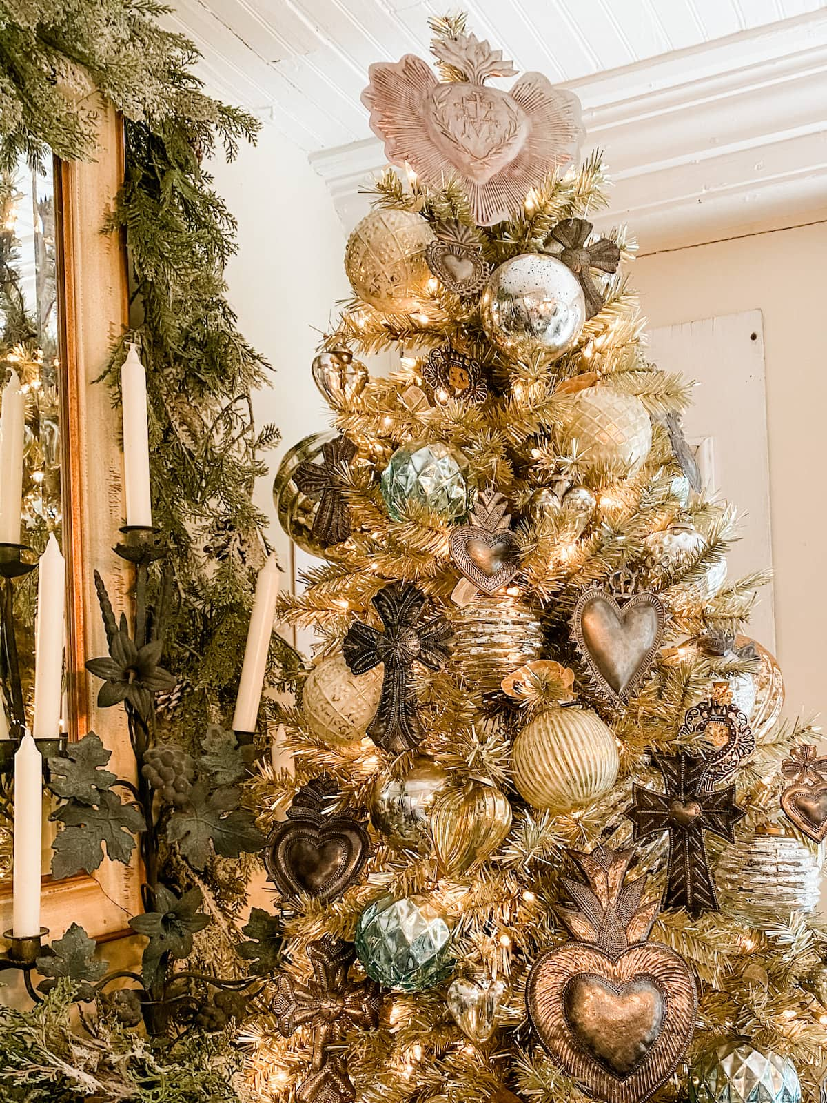 vintage French Christmas matte champagne tree