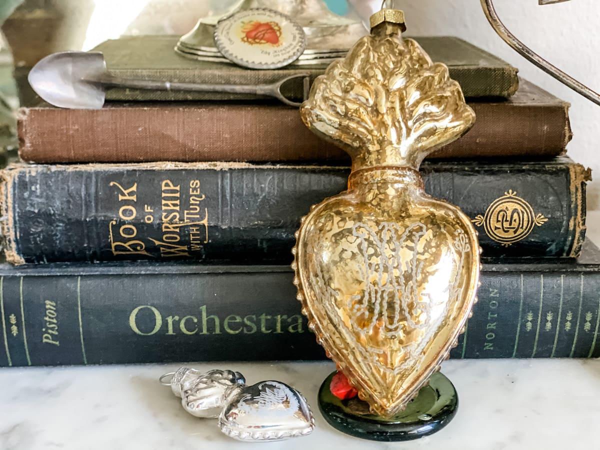 antique gold ex voto heart