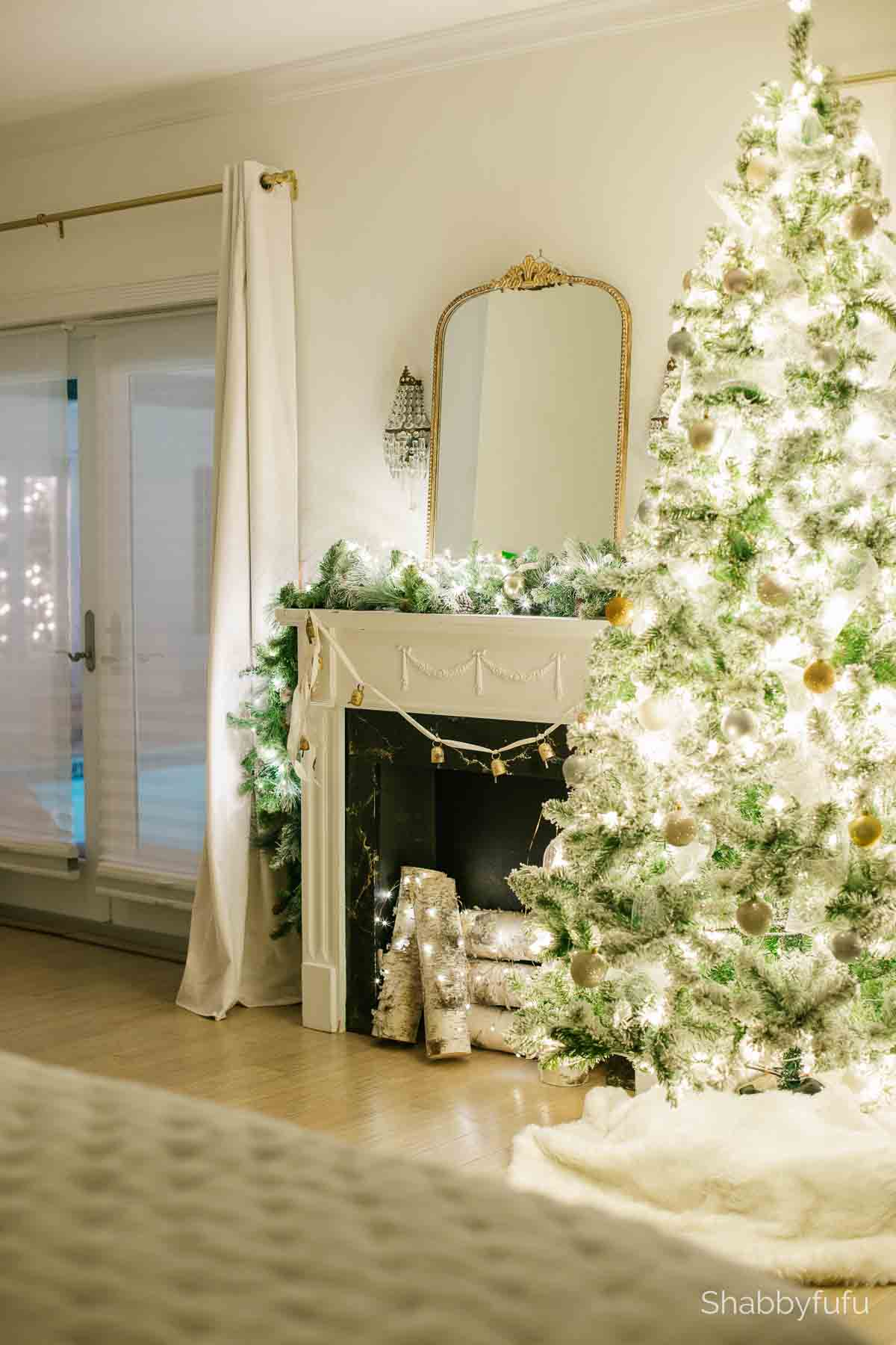 master bedroom Christmas home tour at night