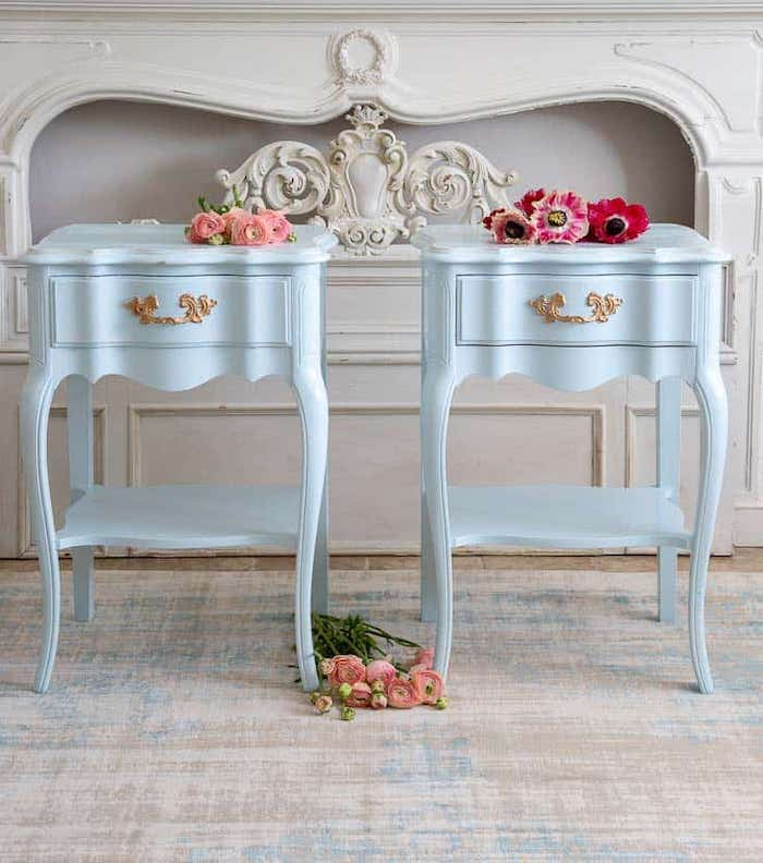 pair of french Provencal style nightstands painted light blue