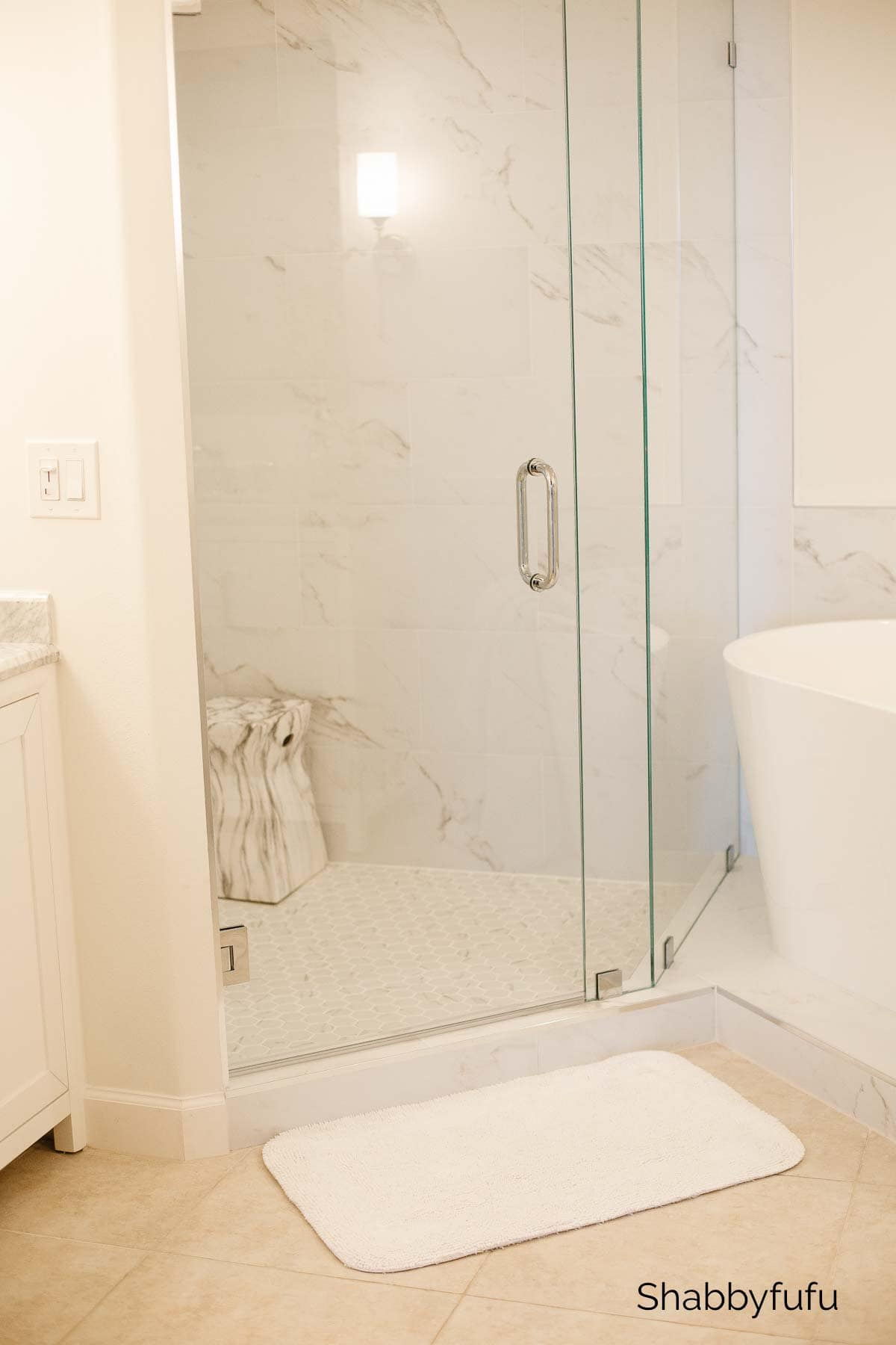 shower in the master bathroom spa like makeover