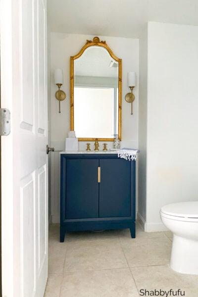 coastal stylish powder room renovation