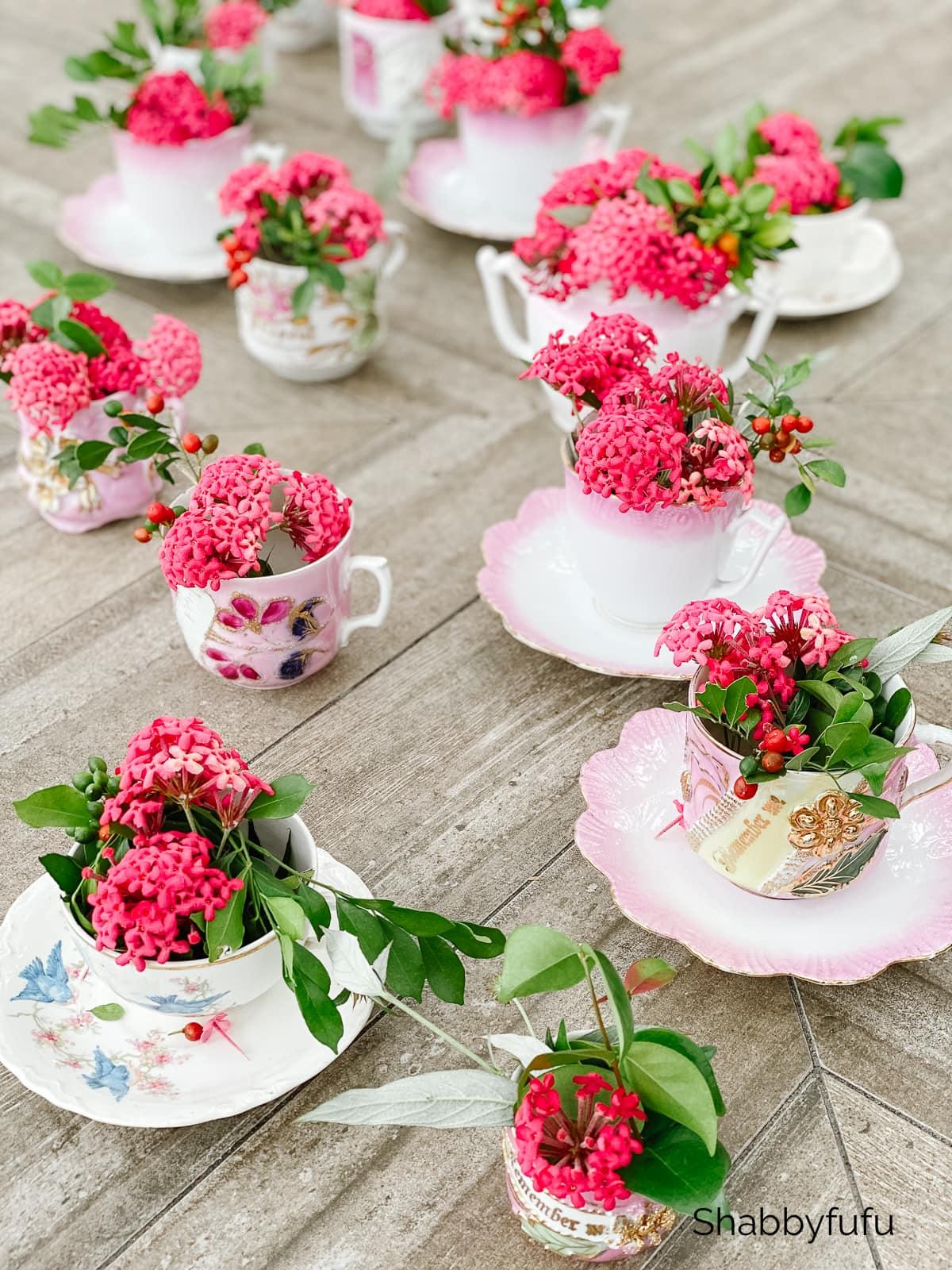 shabbyfufu garden tea cup setting