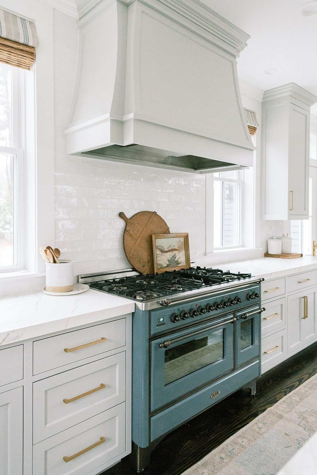 New England home tour kitchen European blue range