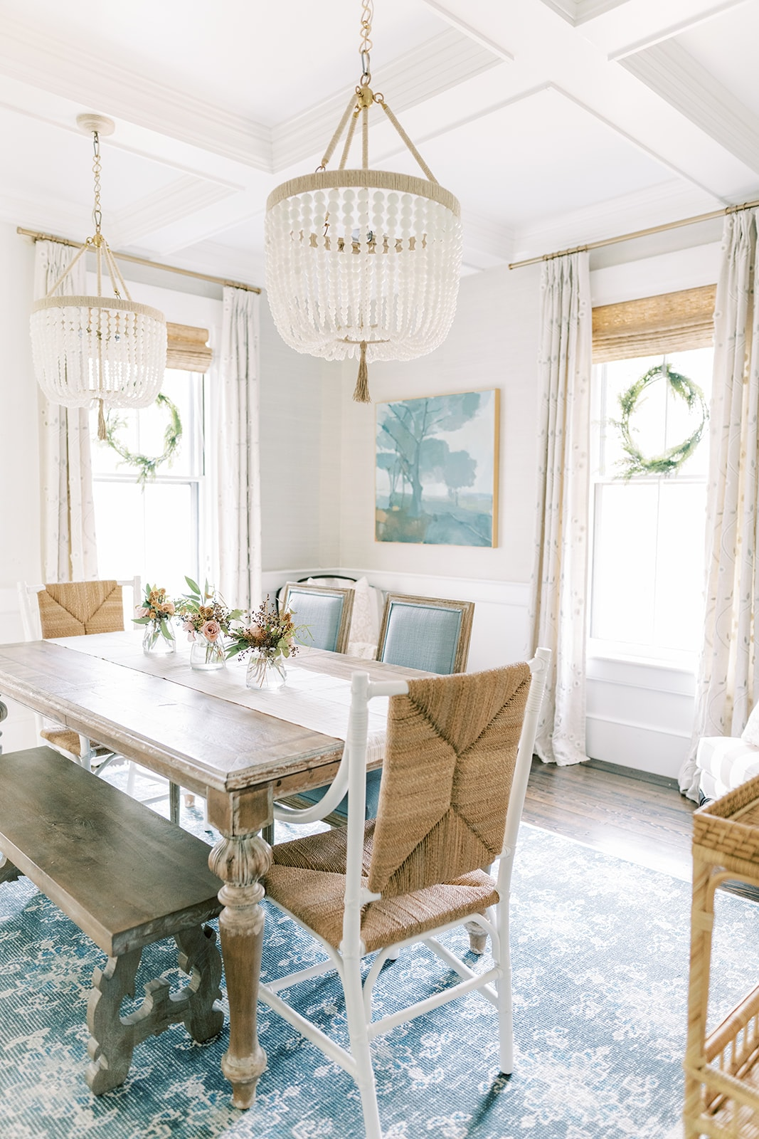 New England home coastal dining room