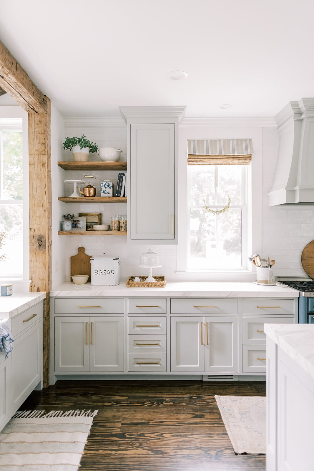 shaker cabinets New England home tour kitchen