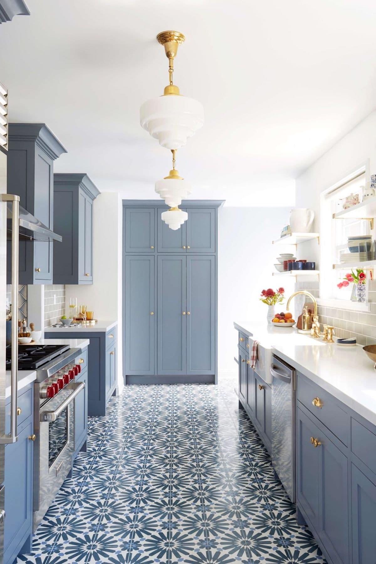 blue kitchen design ideas with patterned tile floor