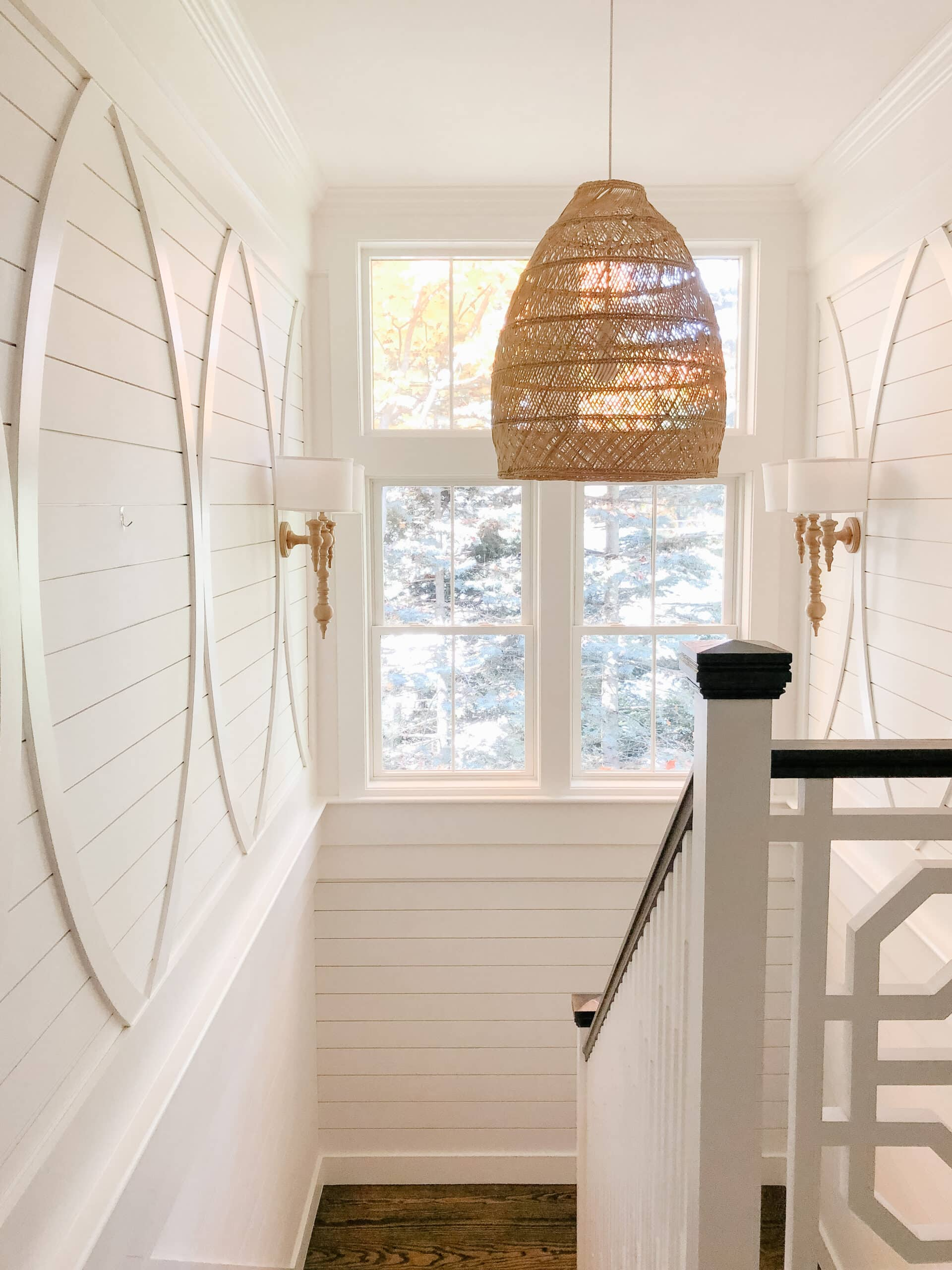 New England home tour landing with shiplap
