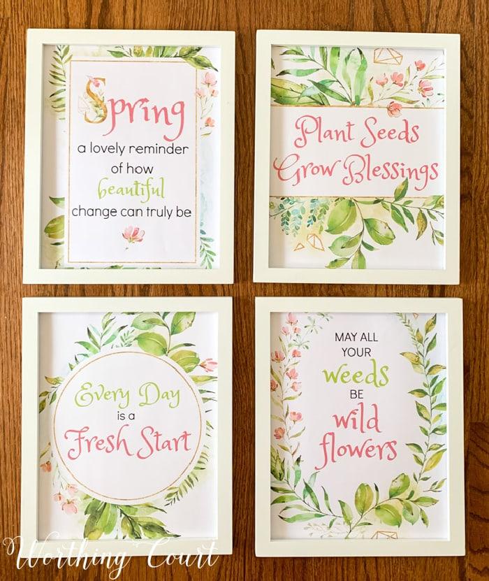 image of 4 free spring printables