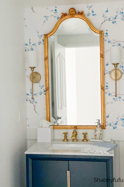 beach house blue and white powder room shabbyfufu
