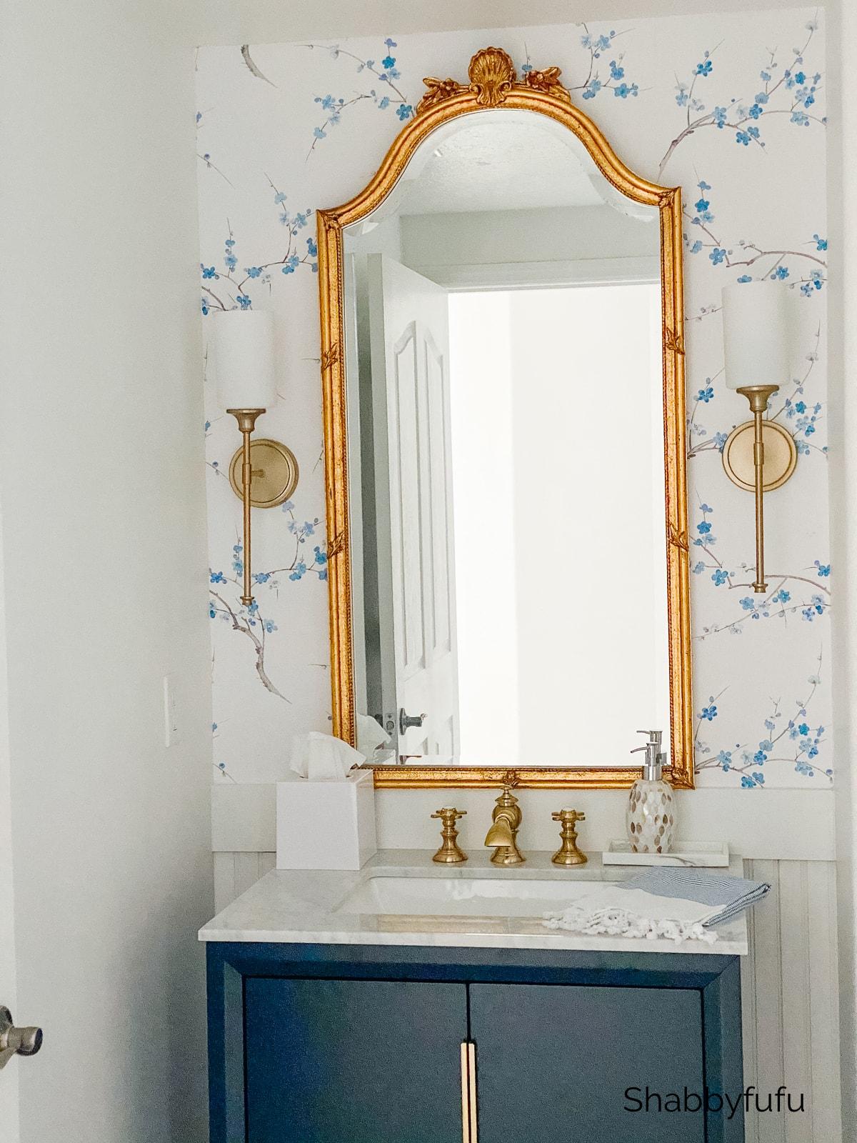 beach house blue and white powder room shabbyfufu