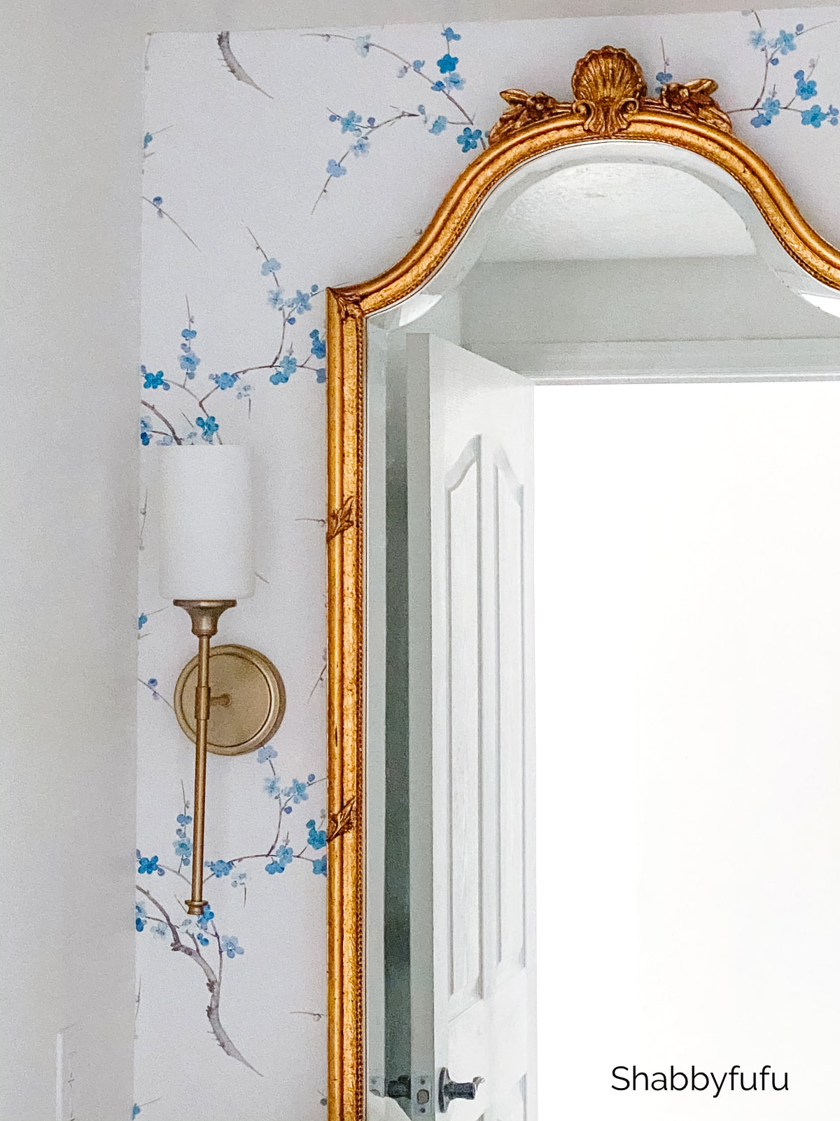 hang peel and stick wallpaper in a powder room