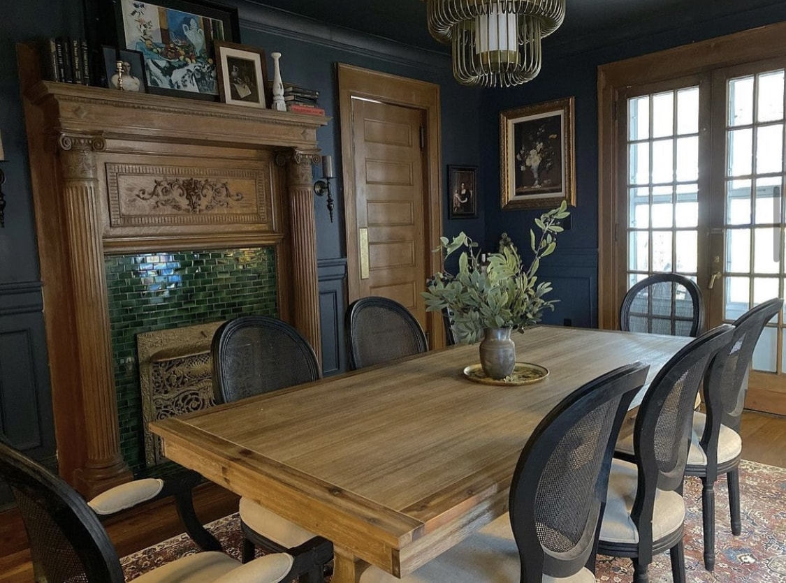 The dining room after - lovingly restored
