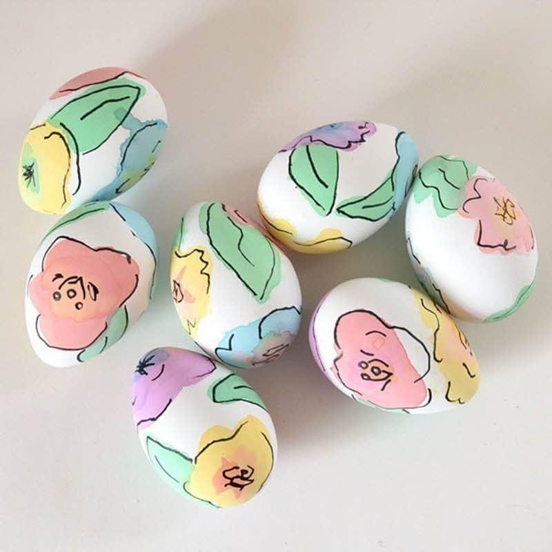 easy watercolor diy floral easter eggs