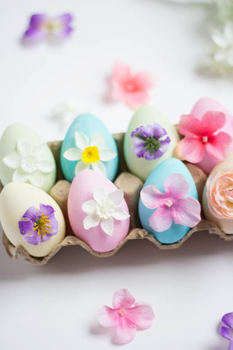 Easter eggs with pressed flowers