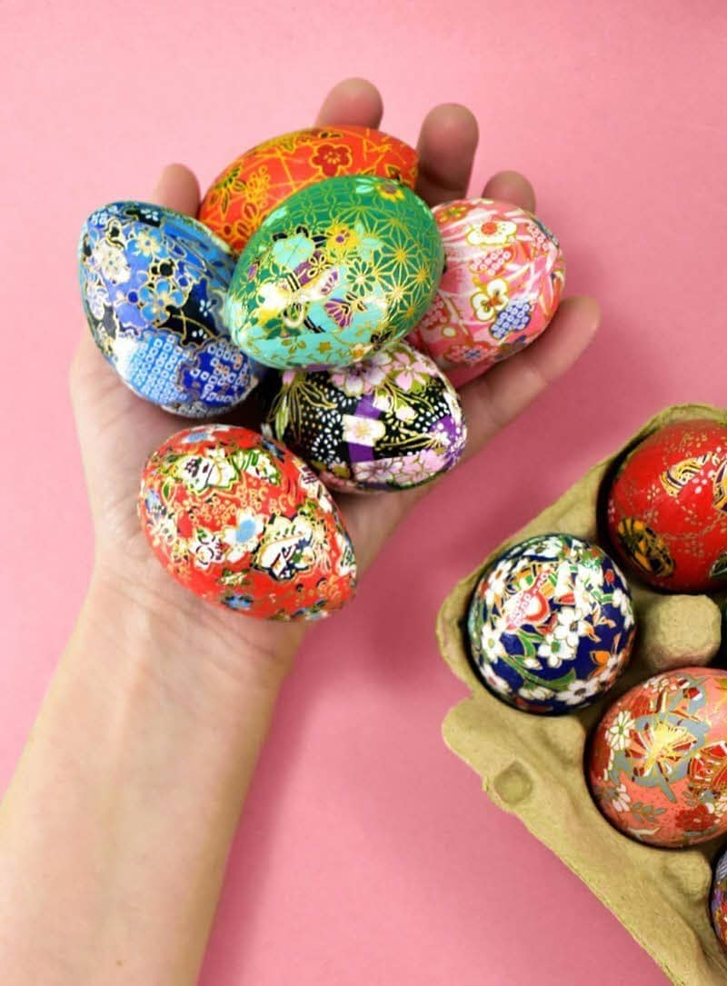 origami diy floral easter eggs
