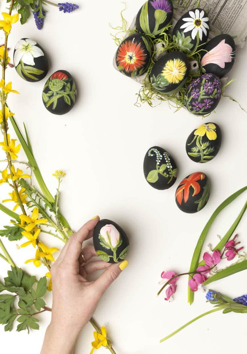 botanical DIY floral easter eggs