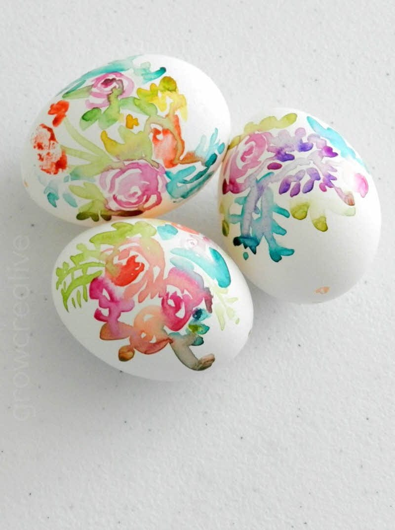 hand painted watercolor diy floral easter eggs