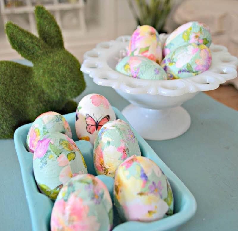 pastel decoupage diy floral easter eggs