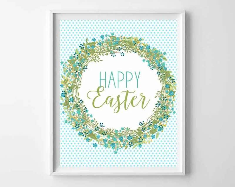 printable Easter wall art aqua