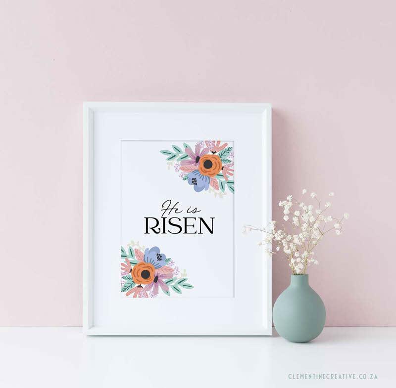he is risen printable Easter wall art