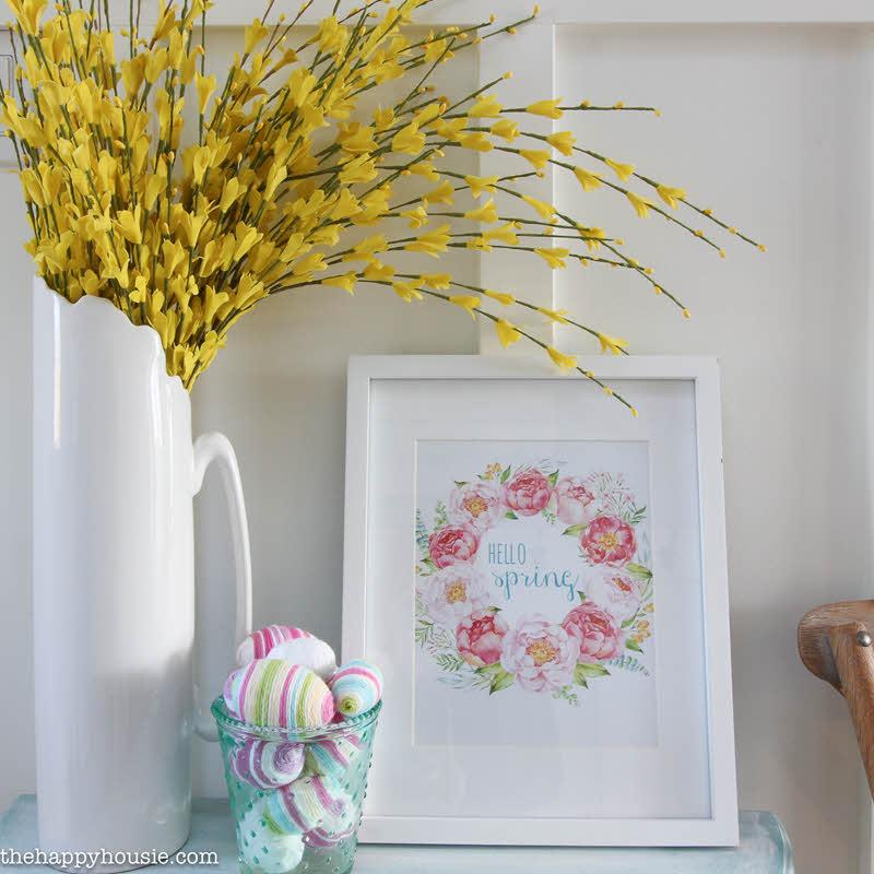 pretty wreath free printable Easter wall art