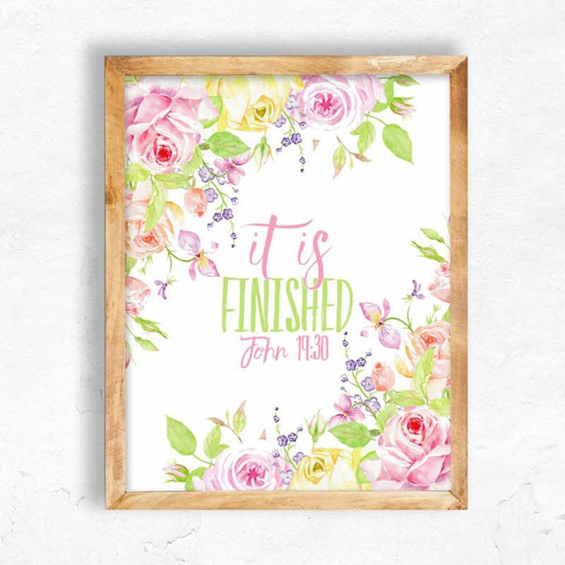 pink flowers printable Easter wall art