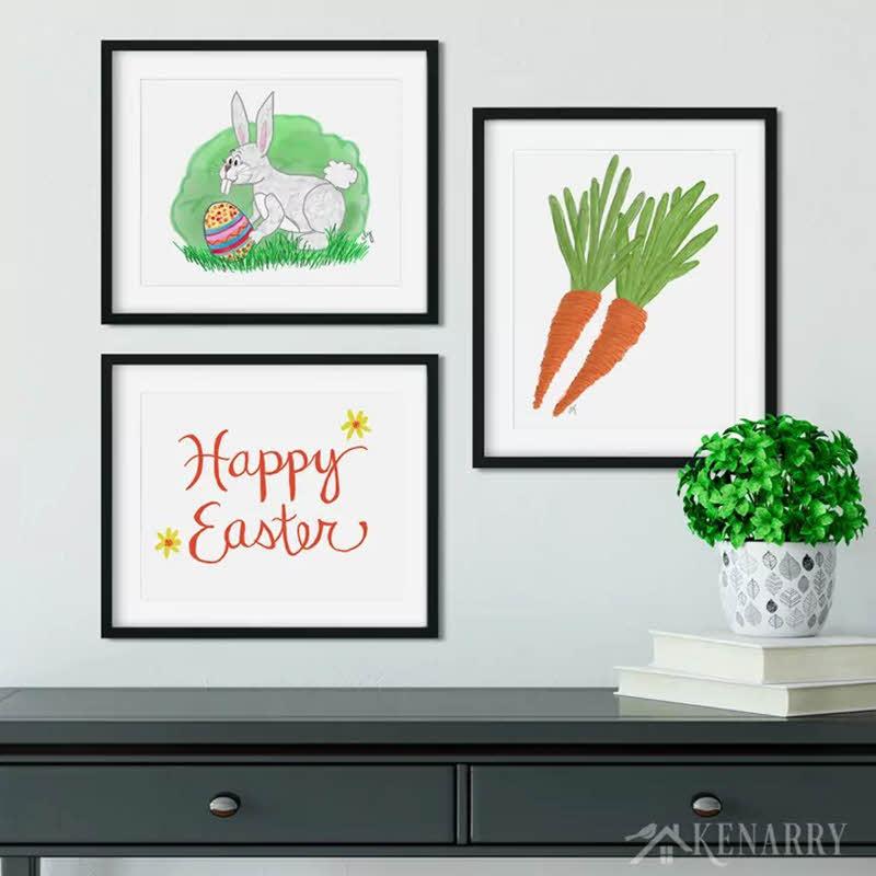 bunny and carrot printable Easter wall art