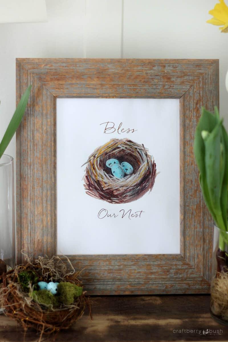 birds nest printable Easter wall art